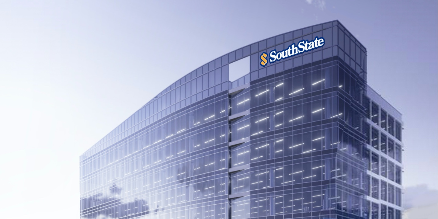 Corporate building with SouthState logo.