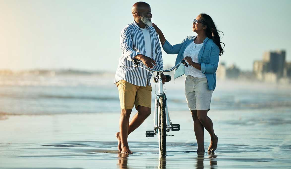 Couple in retirement at the beach