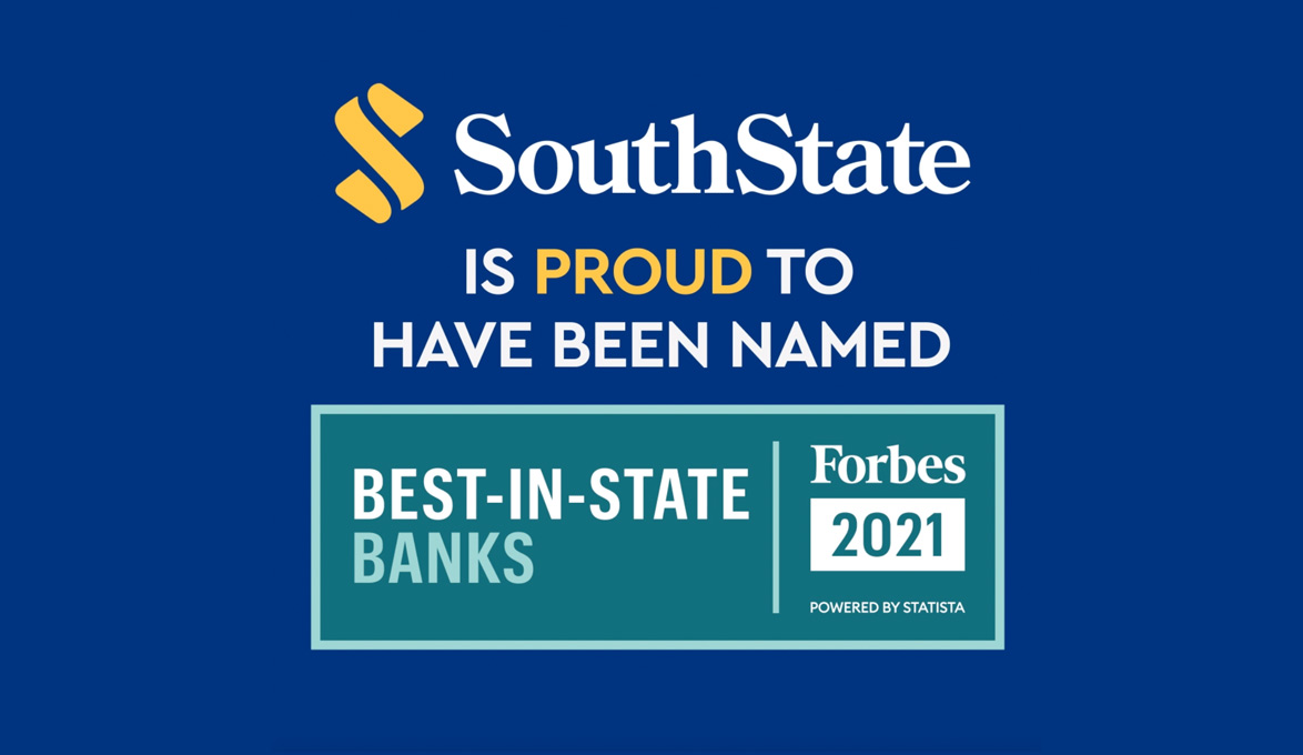 """SouthState Named to Forbes' """"Best-in-State Banks"""" list in Florida, Georgia, South Carolina"""