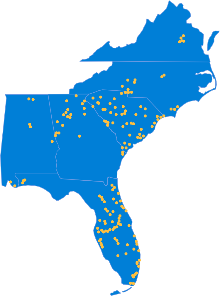 Map of SouthState footprint.